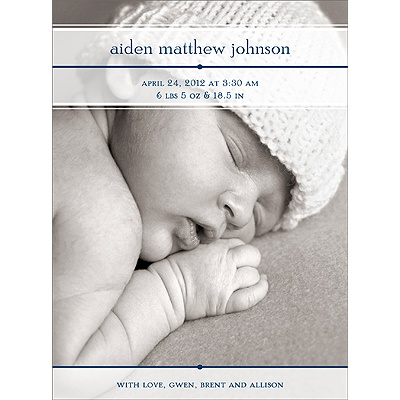 Classic Details in Blue -- Photo Birth Announcement