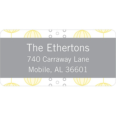 Chic Circles Yellow Address Label