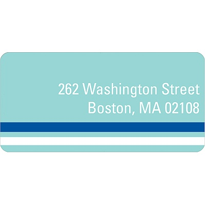 Down the Block Blue Address Label