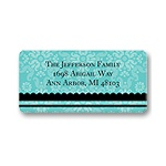 Floral Array -- Aqua Address Label