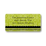 Floral Array -- Green Address Label