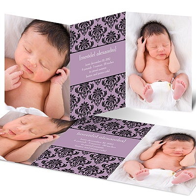Damask Vision -- Modern  Birth Announcement