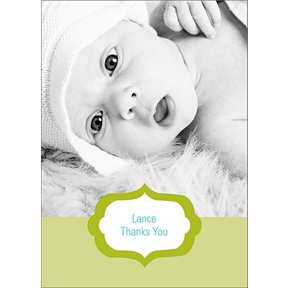 Joyful News in Green -- Baby Thank You Cards
