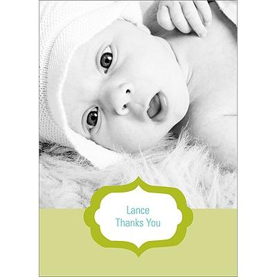 Joyful News in Green Baby Thank You Cards