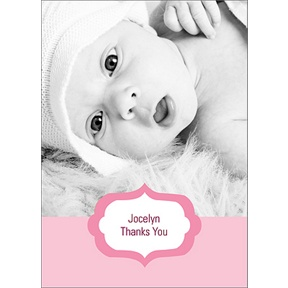Joyful News in Pink -- Baby Thank You Cards