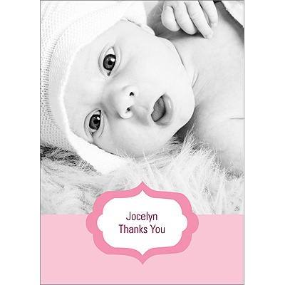 Joyful News in Pink Baby Thank You Cards