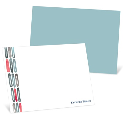 Watercolor Rings Blue Personalized Note Card