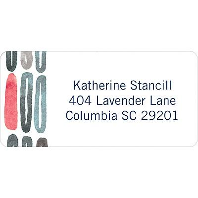 Watercolor Rings Blue Address Label