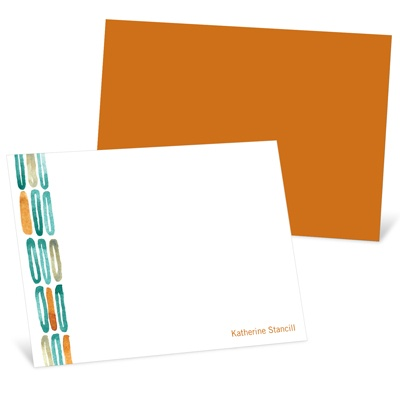 Watercolor Rings Orange Personalized Note Card
