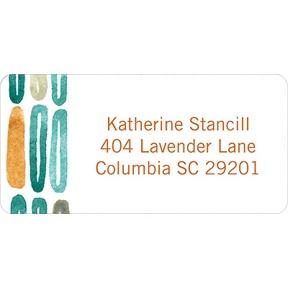 Watercolor Rings -- Orange Address Label