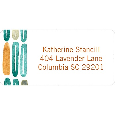 Watercolor Rings -- Orange Address Label