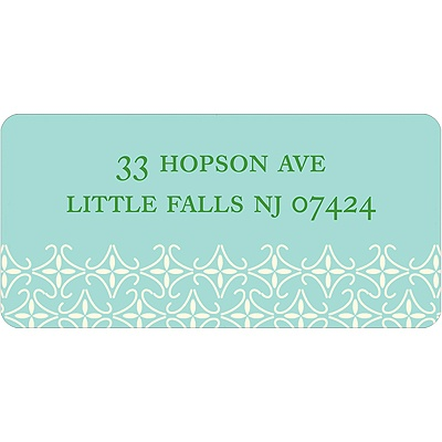 Small Pattern -- Aqua Address Label