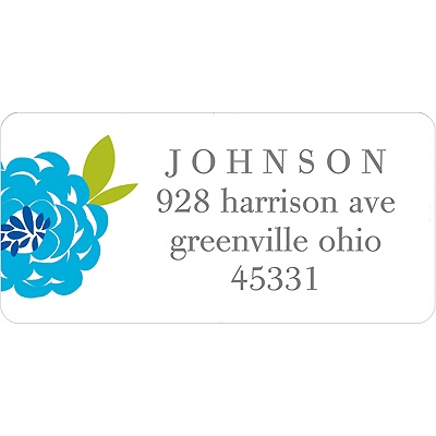 Peony Perfection in Blue -- Address Label