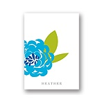 Peony Perfection in Blue -- Personalized Note Card