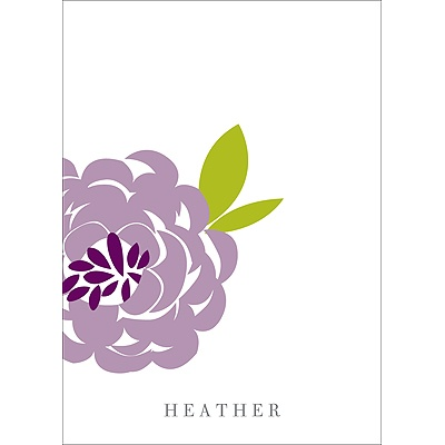 Peony Perfection in Purple -- Personalized Note Card