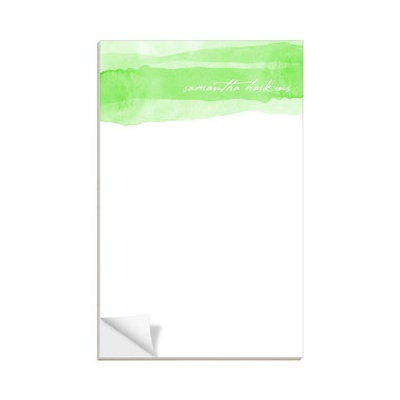 Green Watercolor Custom Notepads