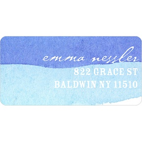Blue Watercolor -- Address Label
