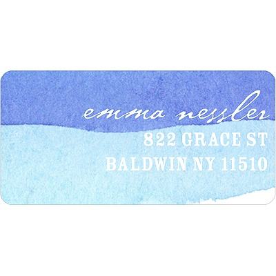 Blue Watercolor Address Label