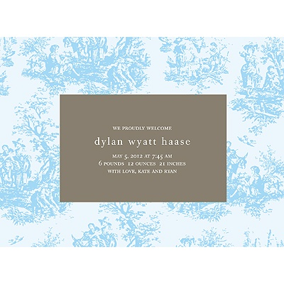Memories in Blue -- Toile Birth Announcement