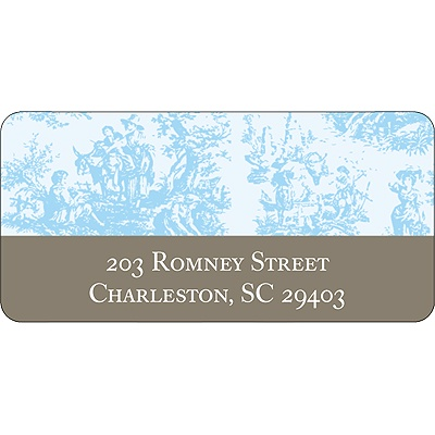 Memories in Blue -- Toile Address Label