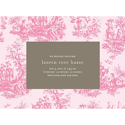 Memories in Pink -- Toile Birth Announcement