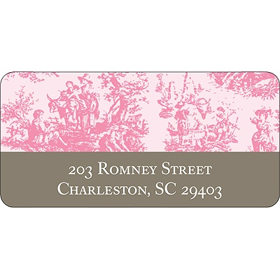 Memories in Pink -- Toile Address Label