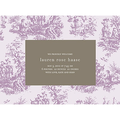 Memories in Purple -- Toile Birth Announcement