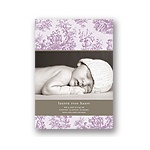 Memories in Purple -- Toile Photo Birth Announcement