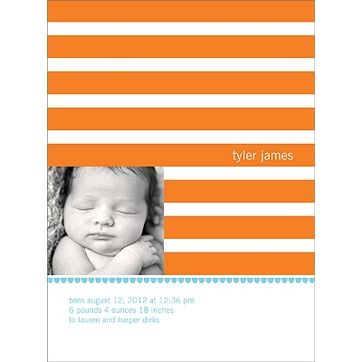 Stripes and Scallops -- Boy Photo Birth Announcement