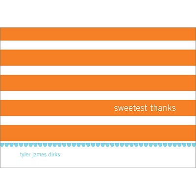 Stripes and Scallops -- Baby Boy Thank You Card
