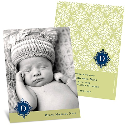 Born in Elegance in Green -- Photo Birth Announcement