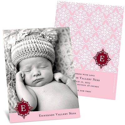 Born in Elegance in Pink -- Photo Birth Announcement