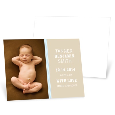 Lovely Stripes in Blue -- Photo Birth Announcement