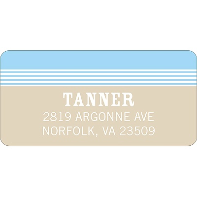 Lovely Stripes in Blue -- Address Label