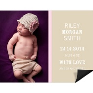 Lovely Stripes Pink Magnet Birth Announcements