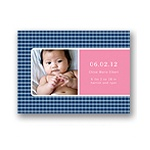 Criss Cross Love in Blue -- Photo Birth Announcement
