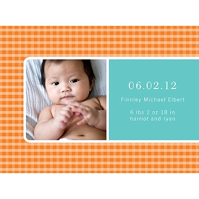 Criss Cross Love in Orange -- Photo Birth Announcement