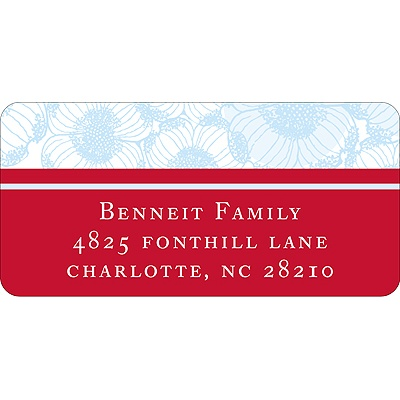 Welcoming Blooms in Blue -- Address Label