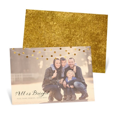 Horizontal Bright String of Lights -- Holiday Photo Cards