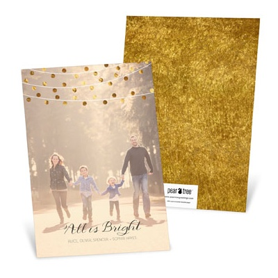 Vertical Bright String of Lights Holiday Photo Cards