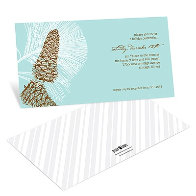 Sketched Pinecones Holiday Party Invitations