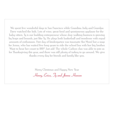 Seasons Greetings Horizontal Christmas Letter Insert