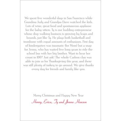 Vertical Christmas Letter Insert Seasons Greetings