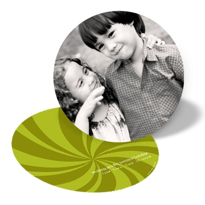 Peppermint Swirl In Green -- Circle Holiday Photo Cards
