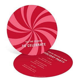 Peppermint Swirl in Red -- Holiday Party Invitations