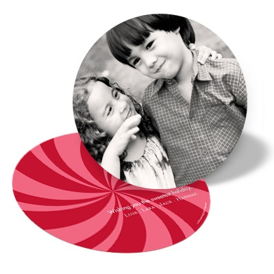 Peppermint Swirl Circle Red Photo Christmas Cards