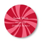 Peppermint Swirl Circle-- Christmas Gift Stickers