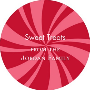 Peppermint Swirl Circle -- Personalized Stickers