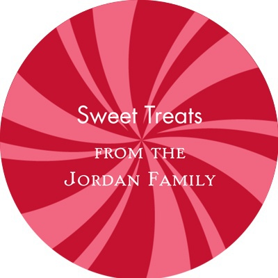 Peppermint Swirl Circle Personalized Stickers