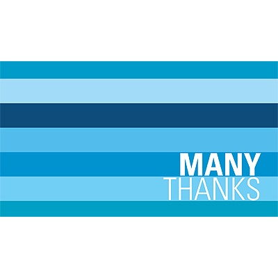 Shades of Stripes in Blue -- Holiday Thank You Card